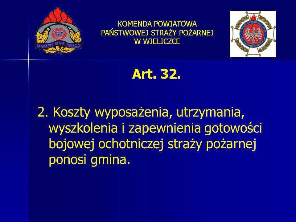 KOMENDA POWIATOWA PAŃSTWOWEJ STRAŻY POŻARNEJ W WIELICZCE Art. 32. 2. Koszty wyposażenia, utrzymania, wyszkolenia i zapewnienia gotowości bojowej ochot