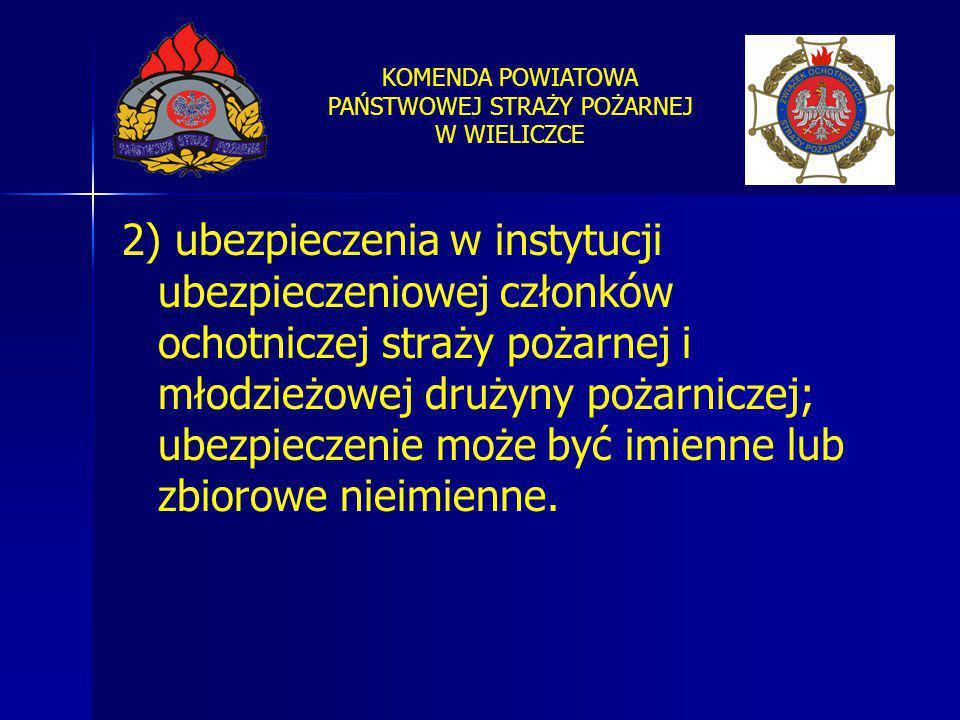 KOMENDA POWIATOWA PAŃSTWOWEJ STRAŻY POŻARNEJ W WIELICZCE 2) ubezpieczenia w instytucji ubezpieczeniowej członków ochotniczej straży pożarnej i młodzie
