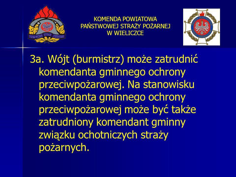 KOMENDA POWIATOWA PAŃSTWOWEJ STRAŻY POŻARNEJ W WIELICZCE 3a. Wójt (burmistrz) może zatrudnić komendanta gminnego ochrony przeciwpożarowej. Na stanowis