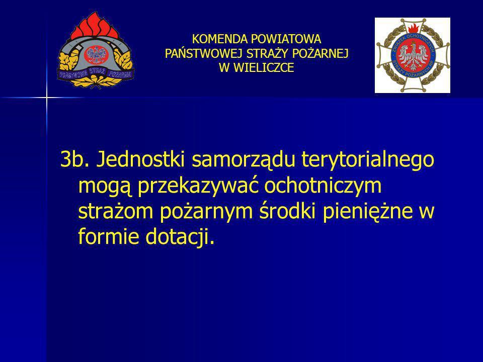 KOMENDA POWIATOWA PAŃSTWOWEJ STRAŻY POŻARNEJ W WIELICZCE 3b. Jednostki samorządu terytorialnego mogą przekazywać ochotniczym strażom pożarnym środki p