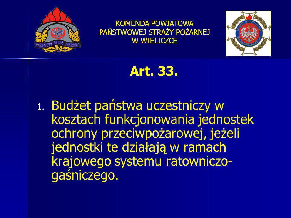 KOMENDA POWIATOWA PAŃSTWOWEJ STRAŻY POŻARNEJ W WIELICZCE Art. 33. 1. 1. Budżet państwa uczestniczy w kosztach funkcjonowania jednostek ochrony przeciw