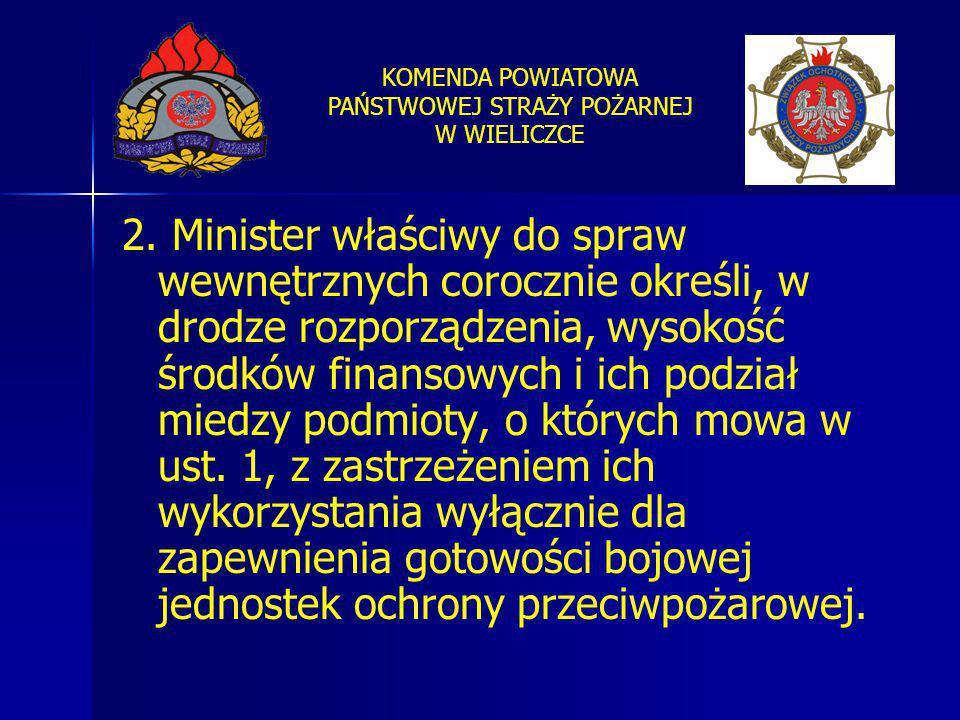 KOMENDA POWIATOWA PAŃSTWOWEJ STRAŻY POŻARNEJ W WIELICZCE 2. Minister właściwy do spraw wewnętrznych corocznie określi, w drodze rozporządzenia, wysoko