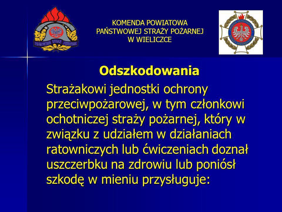 KOMENDA POWIATOWA PAŃSTWOWEJ STRAŻY POŻARNEJ W WIELICZCE Odszkodowania Strażakowi jednostki ochrony przeciwpożarowej, w tym członkowi ochotniczej stra