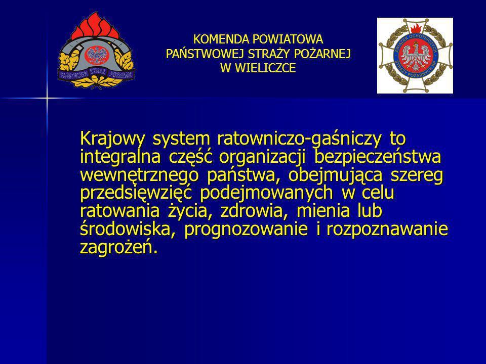 KOMENDA POWIATOWA PAŃSTWOWEJ STRAŻY POŻARNEJ W WIELICZCE Krajowy system ratowniczo-gaśniczy to integralna część organizacji bezpieczeństwa wewnętrzneg