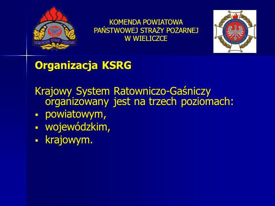 KOMENDA POWIATOWA PAŃSTWOWEJ STRAŻY POŻARNEJ W WIELICZCE Organizacja KSRG Krajowy System Ratowniczo-Gaśniczy organizowany jest na trzech poziomach: 