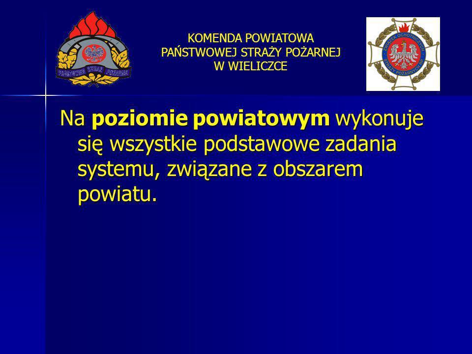 KOMENDA POWIATOWA PAŃSTWOWEJ STRAŻY POŻARNEJ W WIELICZCE Na poziomie powiatowym wykonuje się wszystkie podstawowe zadania systemu, związane z obszarem