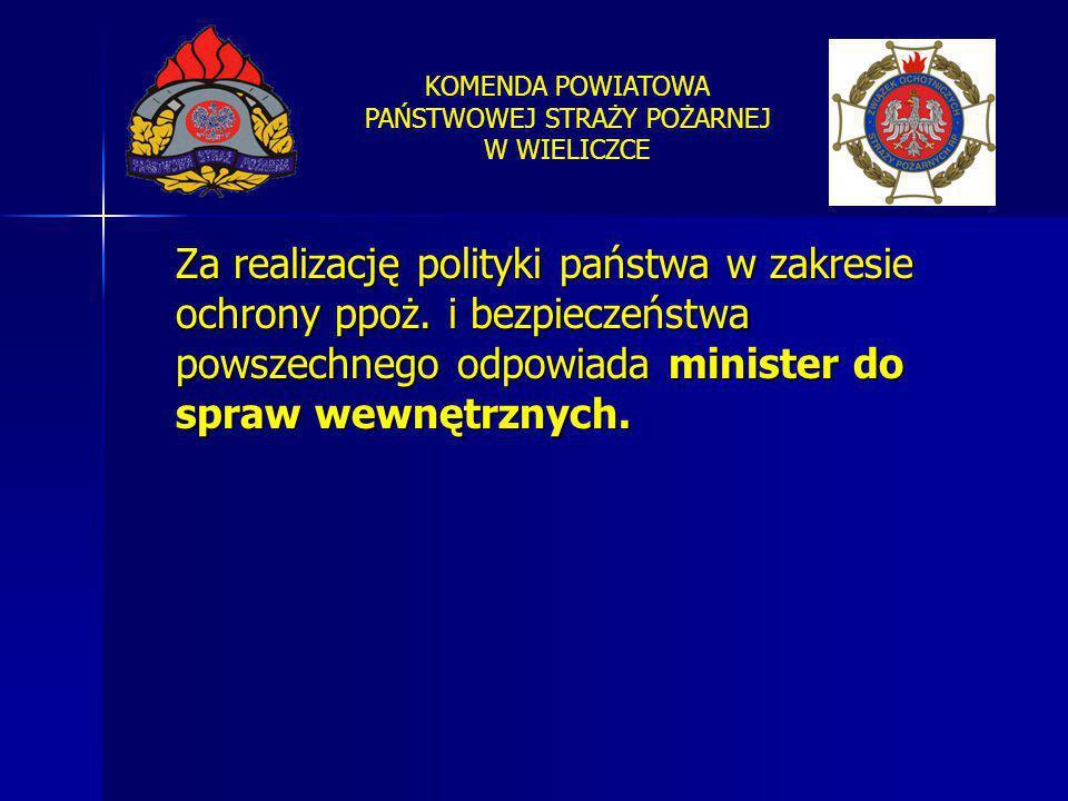 KOMENDA POWIATOWA PAŃSTWOWEJ STRAŻY POŻARNEJ W WIELICZCE Za realizację polityki państwa w zakresie ochrony ppoż. i bezpieczeństwa powszechnego odpowia