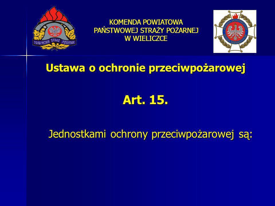 Ustawa o ochronie przeciwpożarowej Art. 15. Jednostkami ochrony przeciwpożarowej są: KOMENDA POWIATOWA PAŃSTWOWEJ STRAŻY POŻARNEJ W WIELICZCE