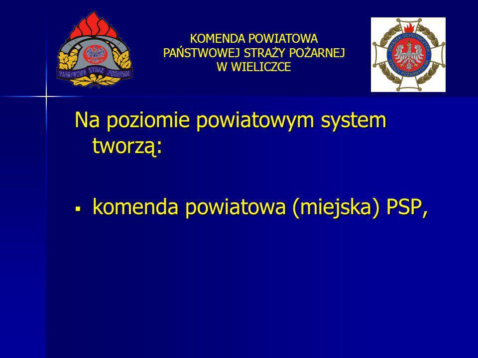 KOMENDA POWIATOWA PAŃSTWOWEJ STRAŻY POŻARNEJ W WIELICZCE Na poziomie powiatowym system tworzą:  komenda powiatowa (miejska) PSP,