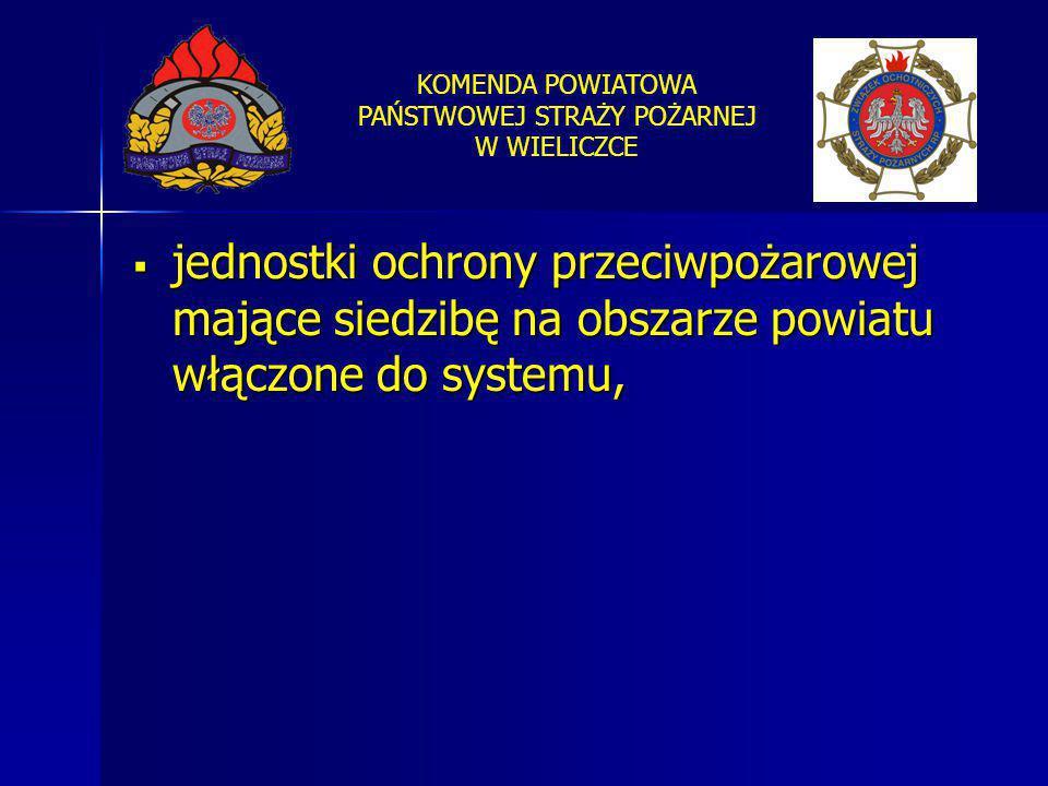 KOMENDA POWIATOWA PAŃSTWOWEJ STRAŻY POŻARNEJ W WIELICZCE  jednostki ochrony przeciwpożarowej mające siedzibę na obszarze powiatu włączone do systemu,