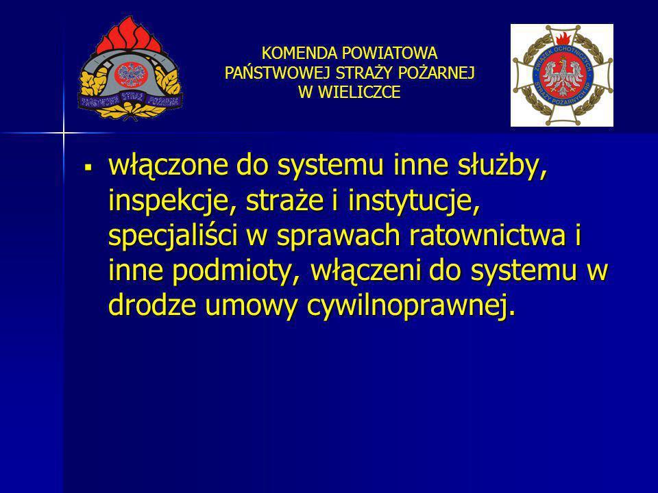 KOMENDA POWIATOWA PAŃSTWOWEJ STRAŻY POŻARNEJ W WIELICZCE  włączone do systemu inne służby, inspekcje, straże i instytucje, specjaliści w sprawach rat
