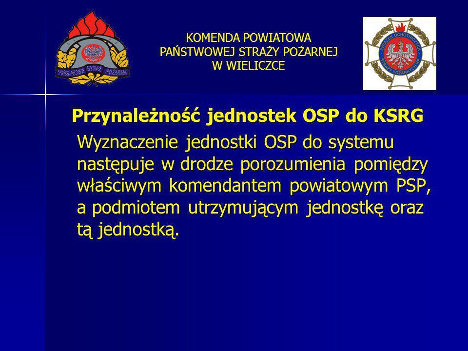 KOMENDA POWIATOWA PAŃSTWOWEJ STRAŻY POŻARNEJ W WIELICZCE Przynależność jednostek OSP do KSRG Wyznaczenie jednostki OSP do systemu następuje w drodze p