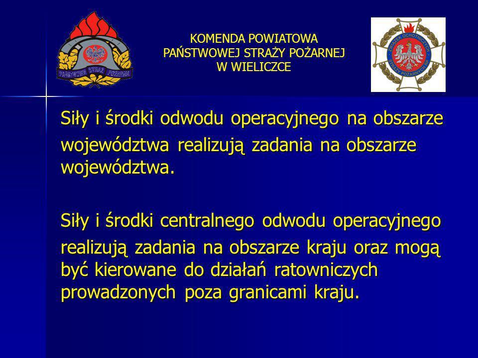 KOMENDA POWIATOWA PAŃSTWOWEJ STRAŻY POŻARNEJ W WIELICZCE Siły i środki odwodu operacyjnego na obszarze województwa realizują zadania na obszarze wojew