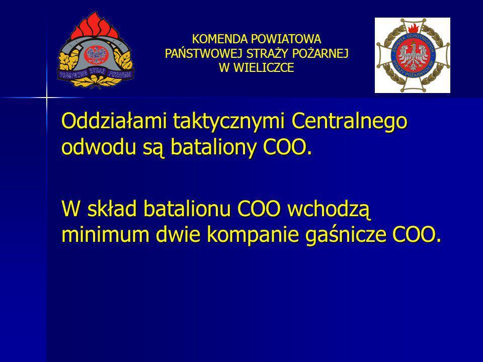 KOMENDA POWIATOWA PAŃSTWOWEJ STRAŻY POŻARNEJ W WIELICZCE Oddziałami taktycznymi Centralnego odwodu są bataliony COO. W skład batalionu COO wchodzą min