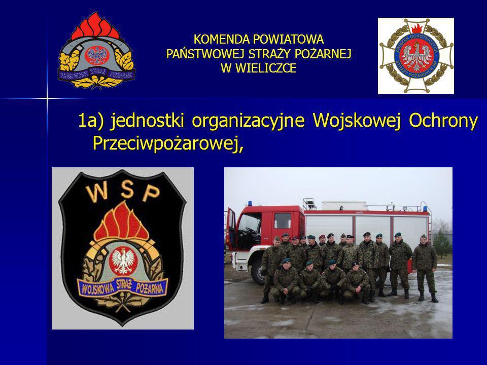 KOMENDA POWIATOWA PAŃSTWOWEJ STRAŻY POŻARNEJ W WIELICZCE 1a) jednostki organizacyjne Wojskowej Ochrony Przeciwpożarowej,