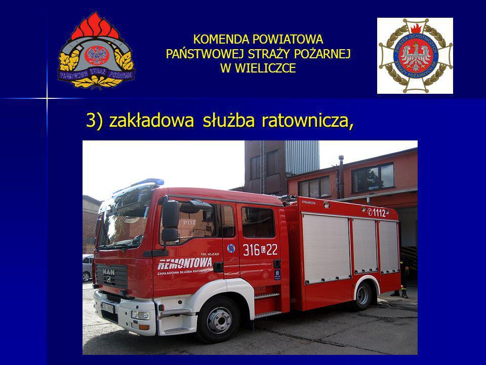 KOMENDA POWIATOWA PAŃSTWOWEJ STRAŻY POŻARNEJ W WIELICZCE 3) zakładowa służba ratownicza,