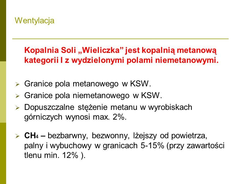 """Kopalnia Soli """"Wieliczka jest kopalnią metanową kategorii I z wydzielonymi polami niemetanowymi."""