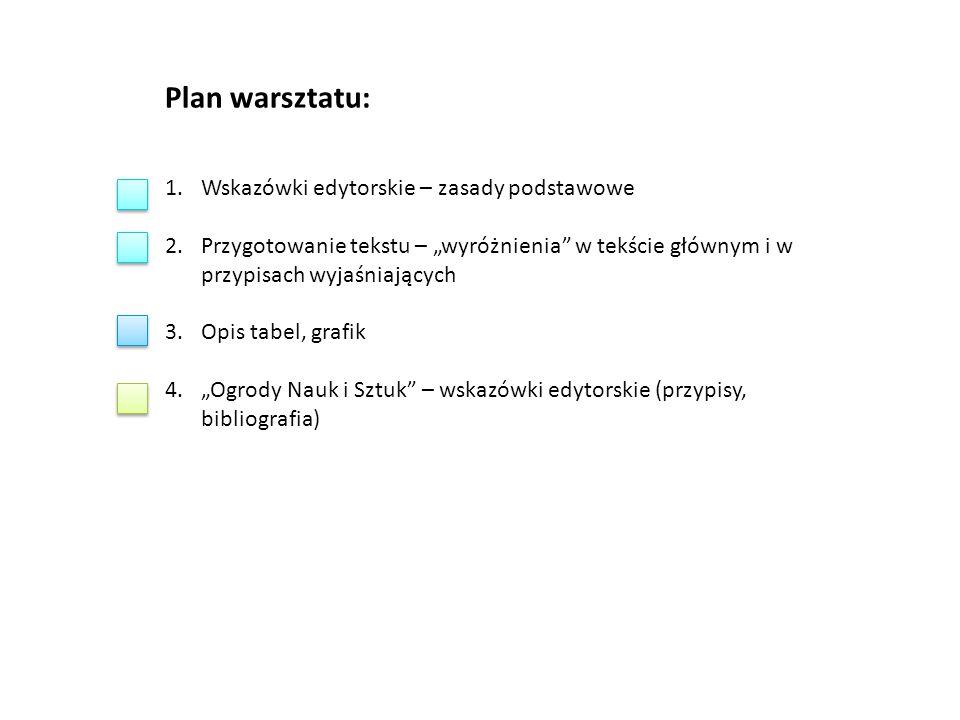 """Plan warsztatu: 1.Wskazówki edytorskie – zasady podstawowe 2.Przygotowanie tekstu – """"wyróżnienia"""" w tekście głównym i w przypisach wyjaśniających 3.Op"""