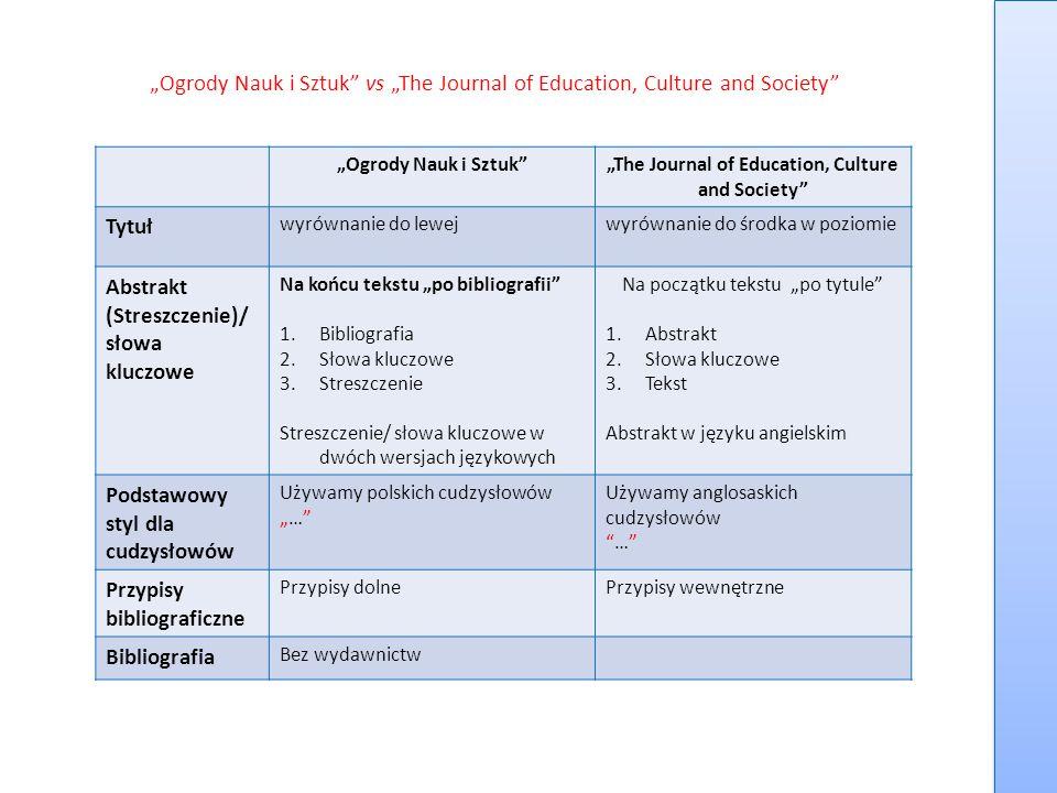 """Ogrody Nauk i Sztuk"" vs ""The Journal of Education, Culture and Society"" ""Ogrody Nauk i Sztuk""""The Journal of Education, Culture and Society"" Tytuł wy"