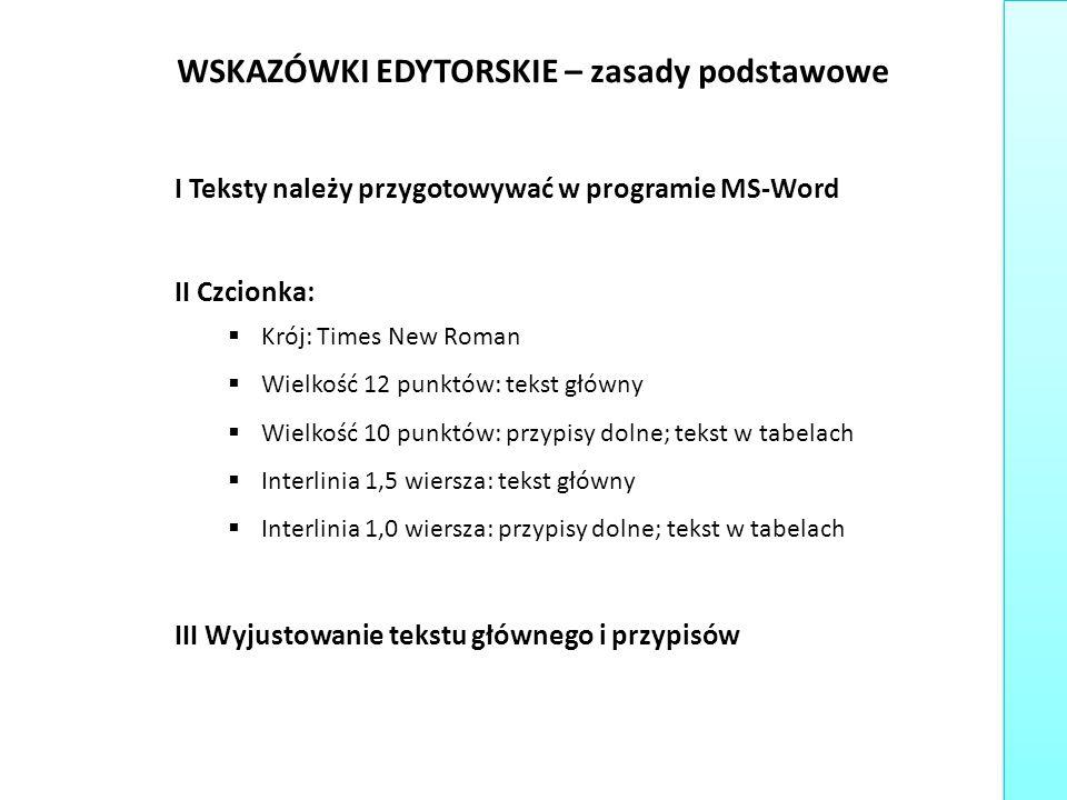 WSKAZÓWKI EDYTORSKIE – zasady podstawowe I Teksty należy przygotowywać w programie MS-Word II Czcionka:  Krój: Times New Roman  Wielkość 12 punktów: