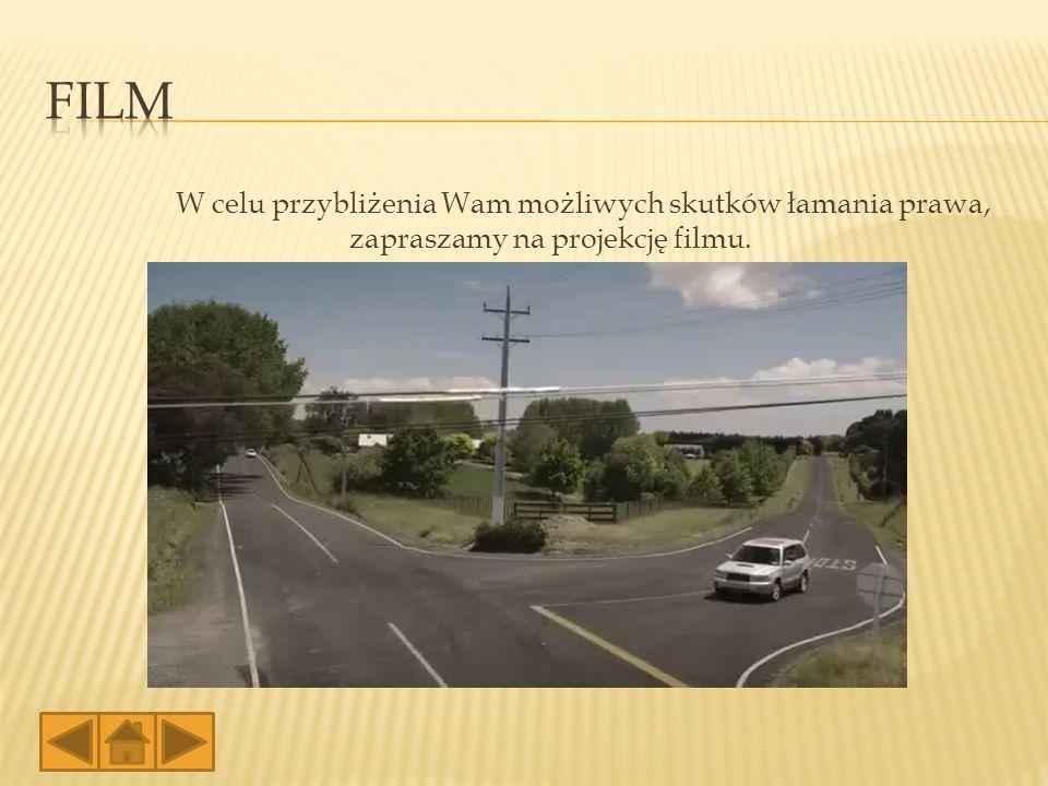 W celu przybliżenia Wam możliwych skutków łamania prawa, zapraszamy na projekcję filmu.