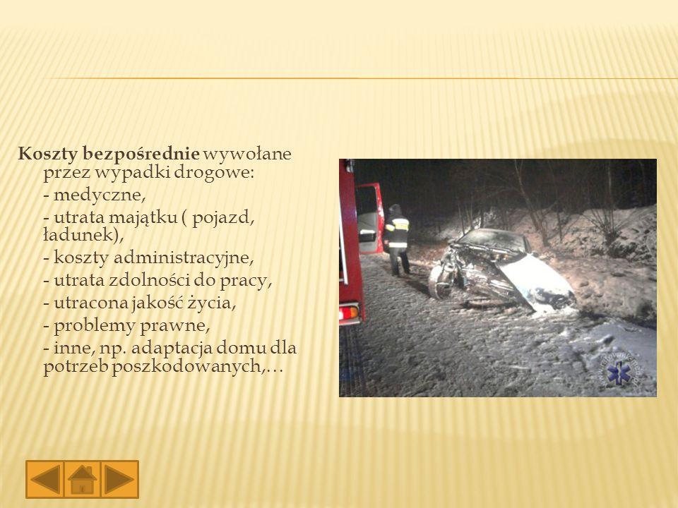Koszty bezpośrednie wywołane przez wypadki drogowe: - medyczne, - utrata majątku ( pojazd, ładunek), - koszty administracyjne, - utrata zdolności do p