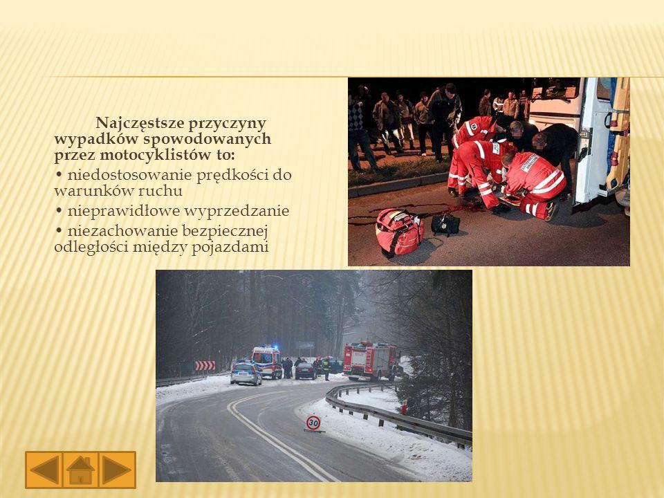 Najczęstsze przyczyny wypadków spowodowanych przez motocyklistów to: niedostosowanie prędkości do warunków ruchu nieprawidłowe wyprzedzanie niezachowa