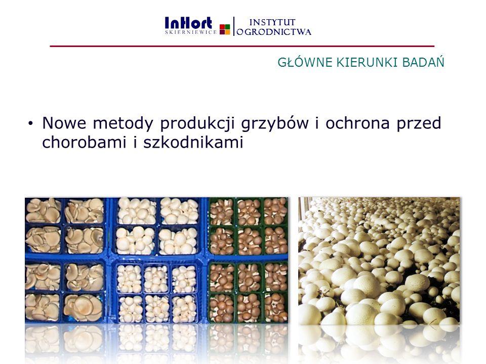 Nowe metody produkcji grzybów i ochrona przed chorobami i szkodnikami GŁÓWNE KIERUNKI BADAŃ INSTYTUT OGRODNICTWA