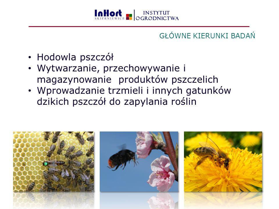 Hodowla pszczół Wytwarzanie, przechowywanie i magazynowanie produktów pszczelich Wprowadzanie trzmieli i innych gatunków dzikich pszczół do zapylania roślin GŁÓWNE KIERUNKI BADAŃ INSTYTUT OGRODNICTWA