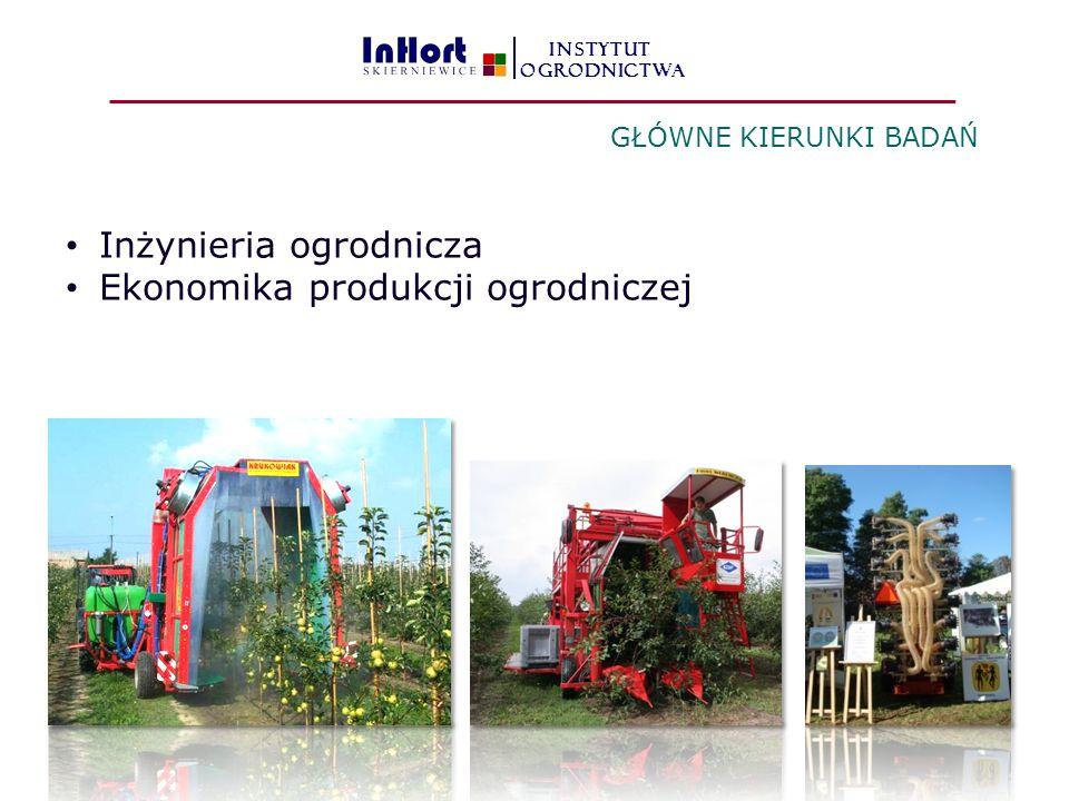 Inżynieria ogrodnicza Ekonomika produkcji ogrodniczej GŁÓWNE KIERUNKI BADAŃ INSTYTUT OGRODNICTWA