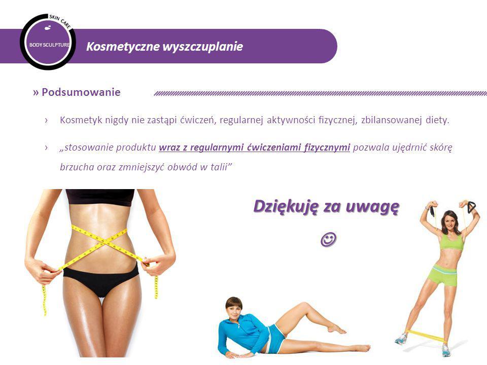 BODY SCULPTURE Kosmetyczne wyszczuplanie » Podsumowanie › Kosmetyk nigdy nie zastąpi ćwiczeń, regularnej aktywności fizycznej, zbilansowanej diety.