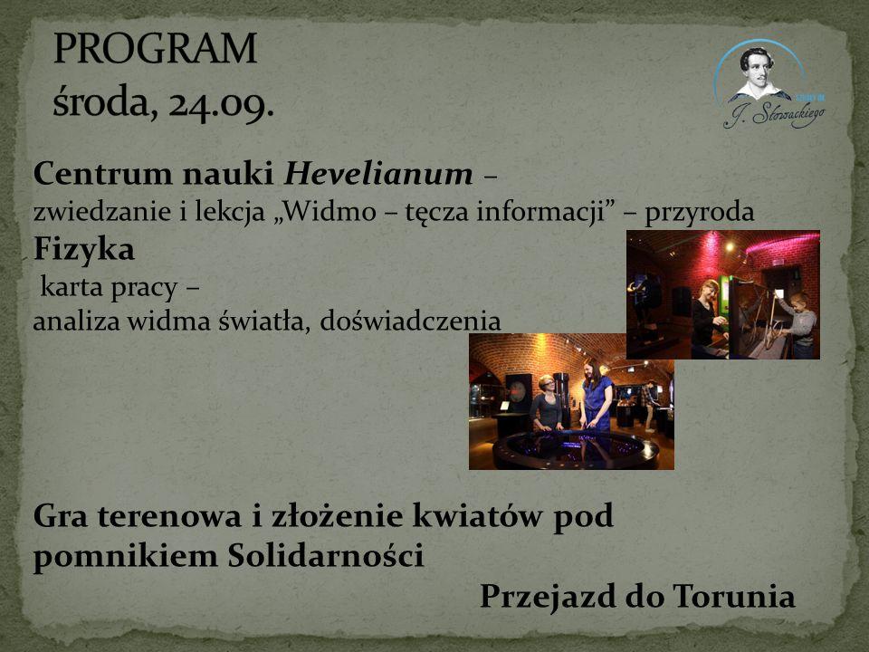 """Centrum nauki Hevelianum – zwiedzanie i lekcja """"Widmo – tęcza informacji"""" – przyroda Fizyka karta pracy – analiza widma światła, doświadczenia Gra ter"""