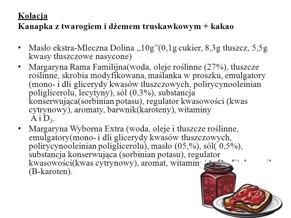 IV ZESTAW Kanapka z szynką i serem: a) chleb b) masło c) ser d) szynka Chleb: 1) dioctan sodu (E262) C2H3NaO2 Ser: 1) chlorek wapnia CaCl2, beta-karot