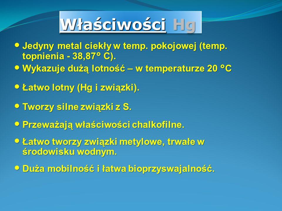 Właściwości Hg Jedyny metal ciekły w temp. pokojowej (temp. topnienia - 38,87° C). Wykazuje dużą lotność – w temperaturze 20 °C Łatwo lotny (Hg i zwią