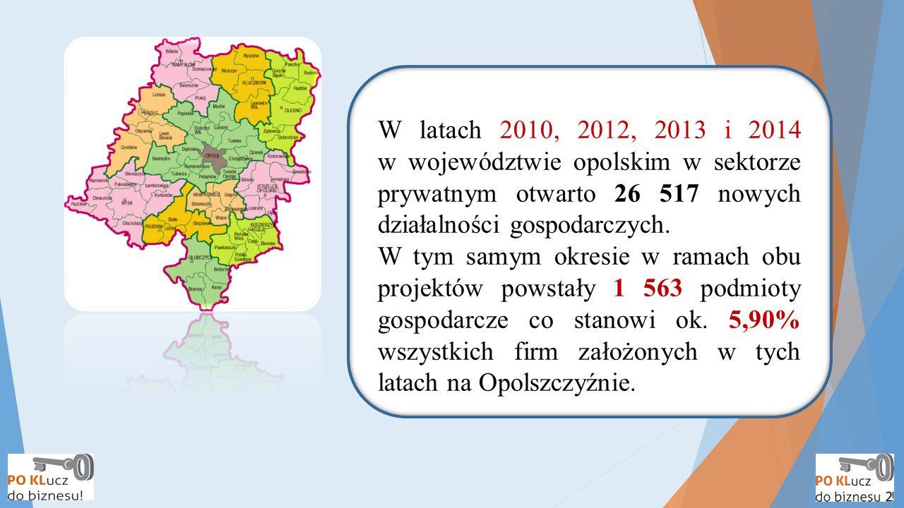 W latach 2010, 2012, 2013 i 2014 w województwie opolskim w sektorze prywatnym otwarto 26 517 nowych działalności gospodarczych. W tym samym okresie w