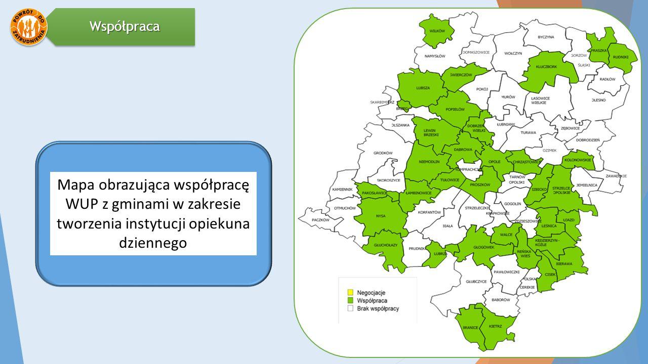 Mapa obrazująca współpracę WUP z gminami w zakresie tworzenia instytucji opiekuna dziennegoWspółpraca