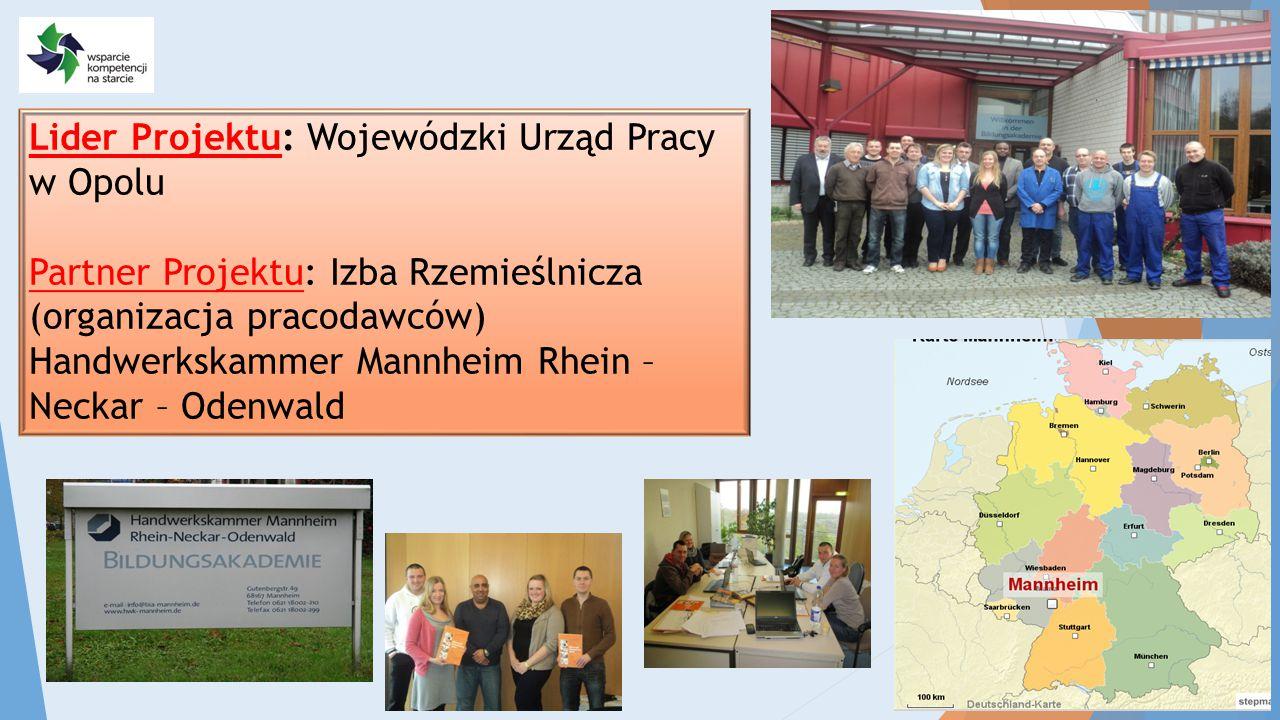 Lider Projektu: Wojewódzki Urząd Pracy w Opolu Partner Projektu: Izba Rzemieślnicza (organizacja pracodawców) Handwerkskammer Mannheim Rhein – Neckar