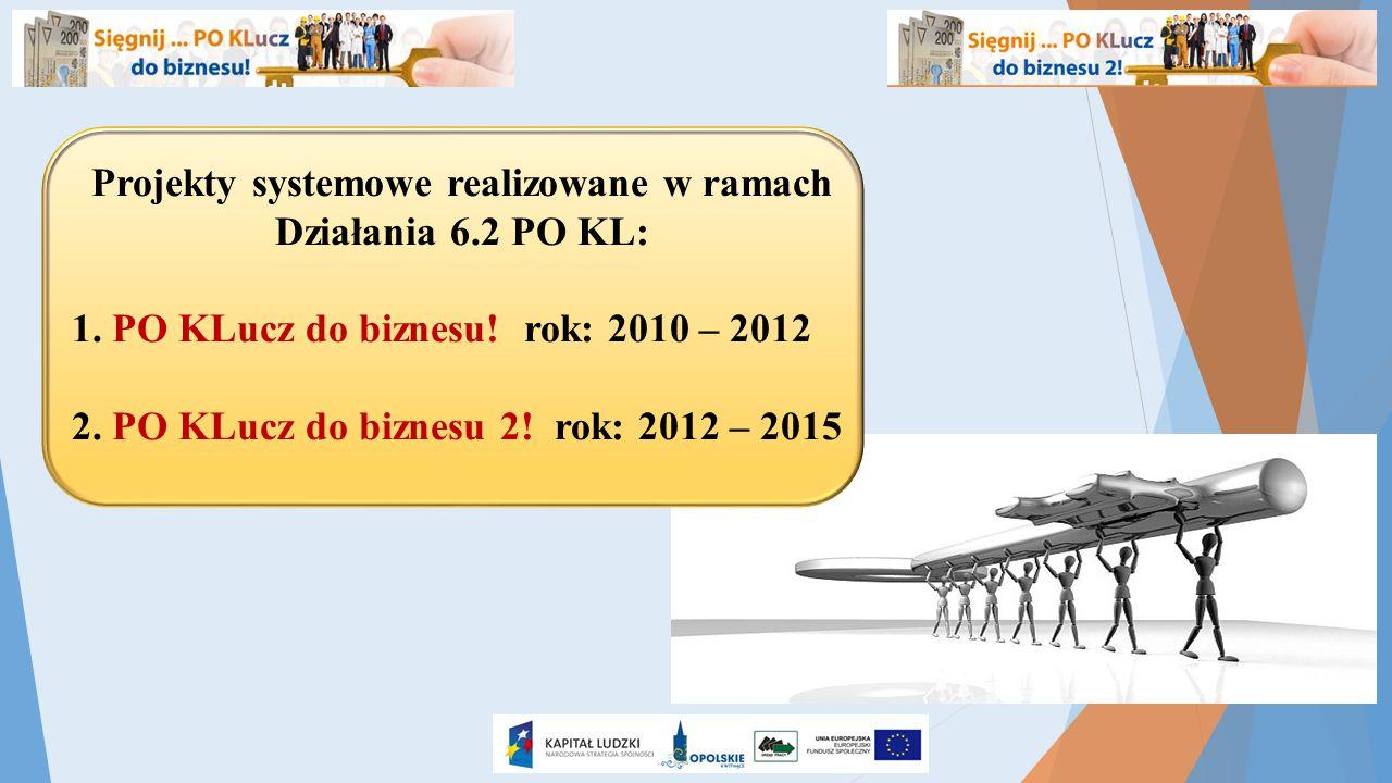 Projekty systemowe realizowane w ramach Działania 6.2 PO KL: 1. PO KLucz do biznesu! rok: 2010 – 2012 2. PO KLucz do biznesu 2! rok: 2012 – 2015