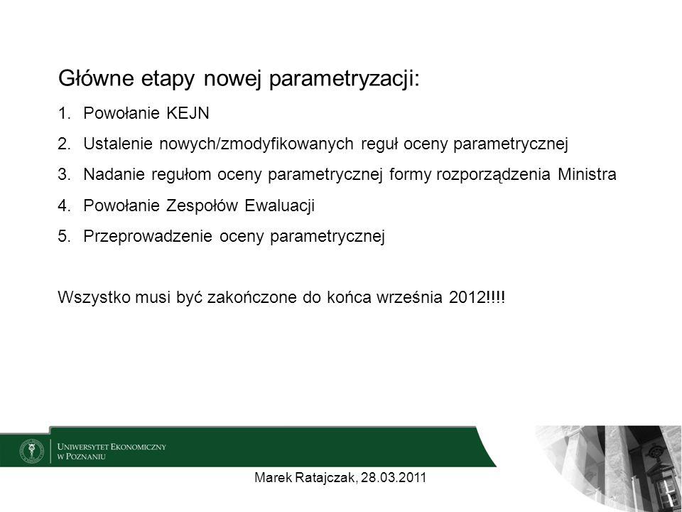 Główne etapy nowej parametryzacji: 1.Powołanie KEJN 2.Ustalenie nowych/zmodyfikowanych reguł oceny parametrycznej 3.Nadanie regułom oceny parametrycznej formy rozporządzenia Ministra 4.Powołanie Zespołów Ewaluacji 5.Przeprowadzenie oceny parametrycznej Wszystko musi być zakończone do końca września 2012!!!.