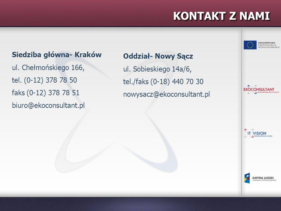 KONTAKT Z NAMI Siedziba główna- Kraków ul. Chełmońskiego 166, tel.