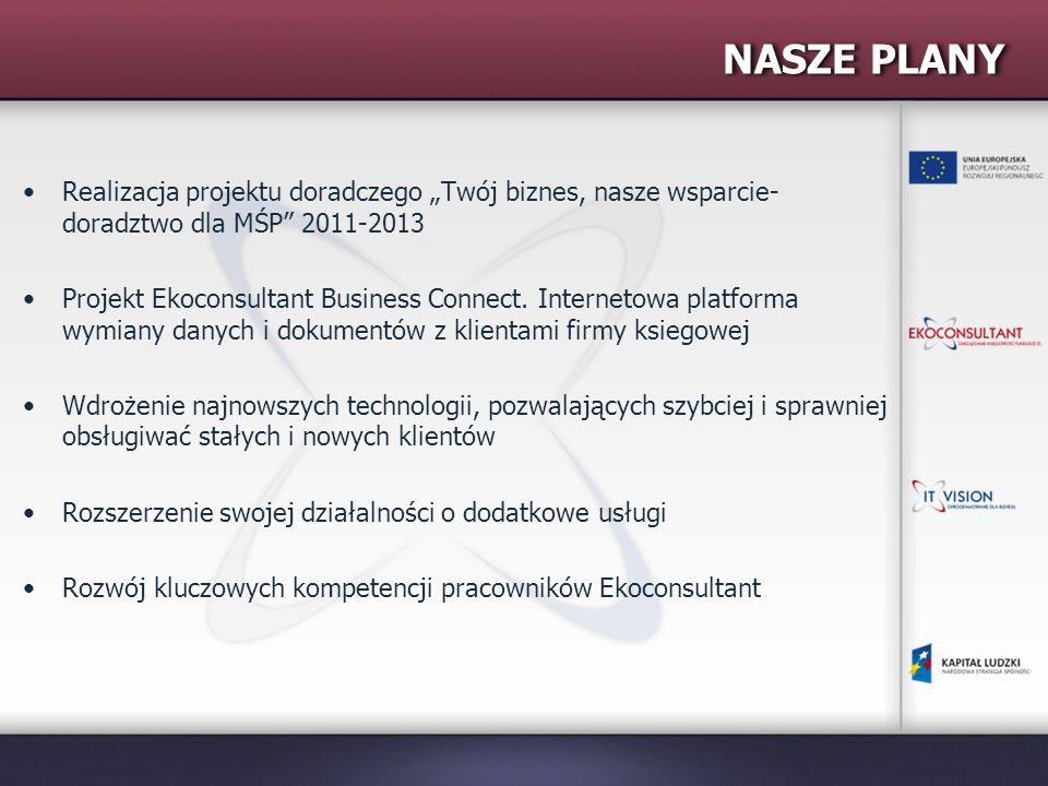 """NASZE PLANY Realizacja projektu doradczego """"Twój biznes, nasze wsparcie- doradztwo dla MŚP 2011-2013 Projekt Ekoconsultant Business Connect."""
