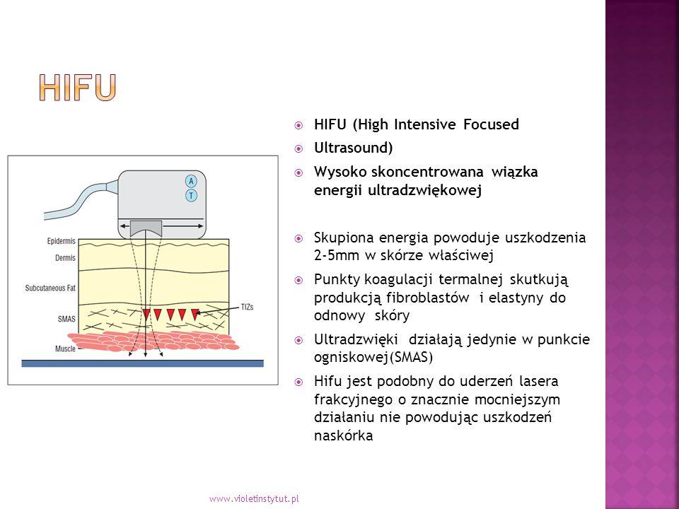 HIFU (High Intensive Focused  Ultrasound)  Wysoko skoncentrowana wiązka energii ultradzwiękowej  Skupiona energia powoduje uszkodzenia 2-5mm w skórze właściwej  Punkty koagulacji termalnej skutkują produkcją fibroblastów i elastyny do odnowy skóry  Ultradzwięki działają jedynie w punkcie ogniskowej(SMAS)  Hifu jest podobny do uderzeń lasera frakcyjnego o znacznie mocniejszym działaniu nie powodując uszkodzeń naskórka www.violetinstytut.pl