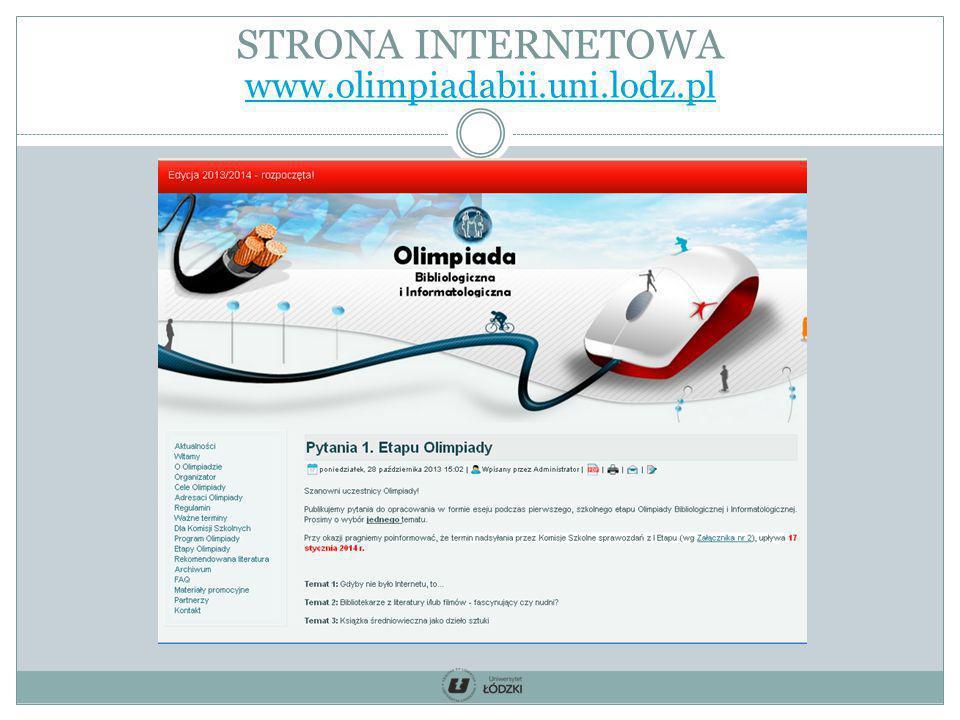 STRONA INTERNETOWA www.olimpiadabii.uni.lodz.pl