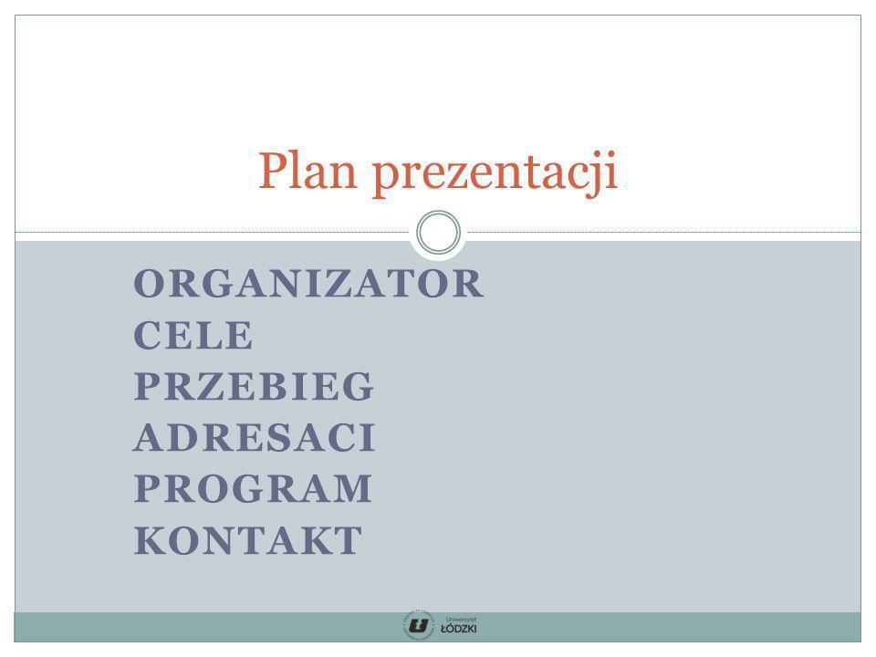 ORGANIZATOR CELE PRZEBIEG ADRESACI PROGRAM KONTAKT Plan prezentacji