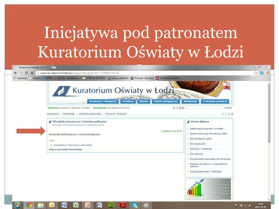 Inicjatywa pod patronatem Kuratorium Oświaty w Łodzi