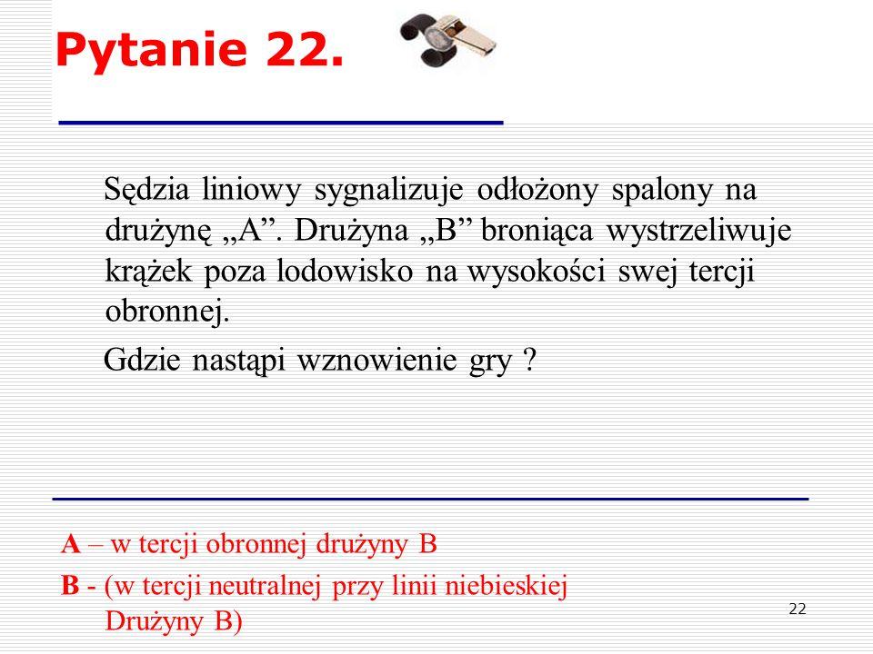 21 Pytanie 21. Zawodnik drużyny będącej w osłabieniu, wystrzeliwuje krążek na uwolnienie.