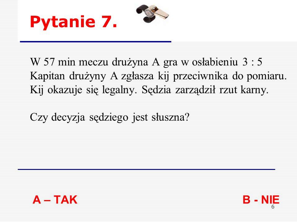 16 Pytanie 17.Zawodnik został wyznaczony do wykonywania rzutu karnego.