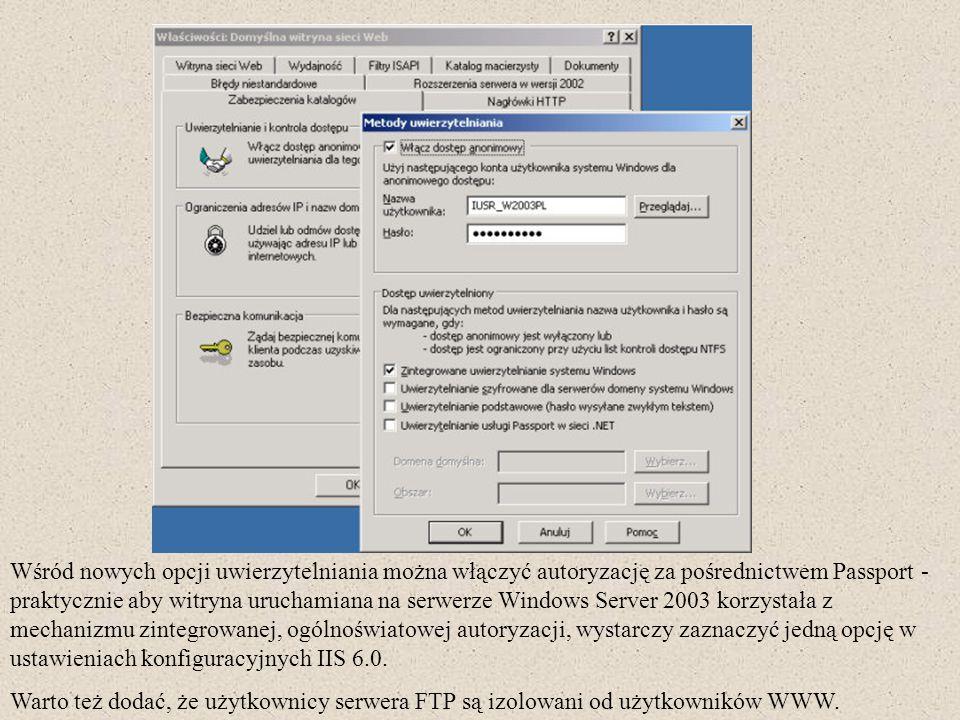 Wśród nowych opcji uwierzytelniania można włączyć autoryzację za pośrednictwem Passport - praktycznie aby witryna uruchamiana na serwerze Windows Serv