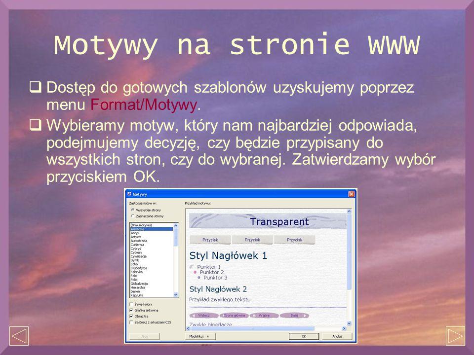 Motywy na stronie WWW  Dostęp do gotowych szablonów uzyskujemy poprzez menu Format/Motywy.  Wybieramy motyw, który nam najbardziej odpowiada, podejm