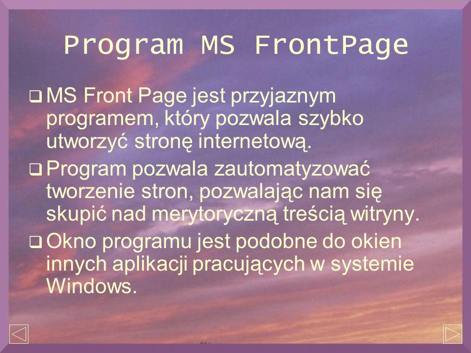 Program MS FrontPage  MS Front Page jest przyjaznym programem, który pozwala szybko utworzyć stronę internetową.  Program pozwala zautomatyzować two